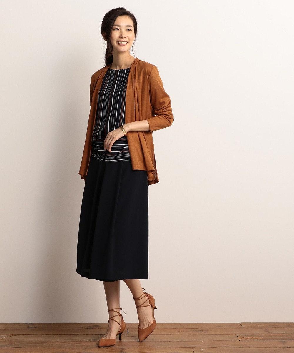 J.PRESS LADIES 【新色追加&洗える!】オメガフライス 着流しカーディガン キャメル系