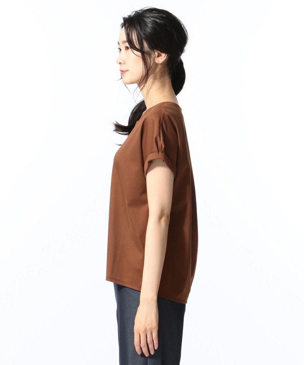 J.PRESS LADIES S 【消臭効果・接触冷感】コンパクトコットンスムース ゆるTシャツ ブラウン系