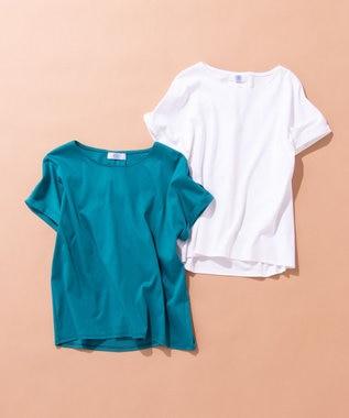 J.PRESS LADIES S 【消臭効果・接触冷感】コンパクトコットンスムース ゆるTシャツ ホワイト系