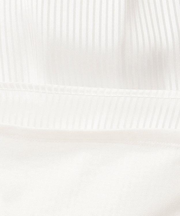 J.PRESS LADIES L 【洗える】シャドーストライプボウタイ風 カットソー ホワイト系1