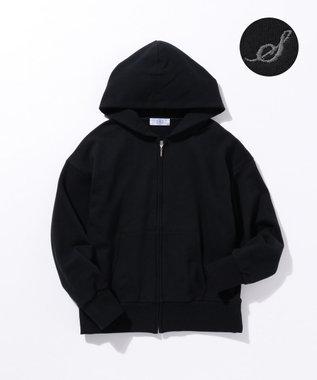 J.PRESS LADIES 【完全受注生産】イニシャルカスタマイズ裏毛パーカー Black S