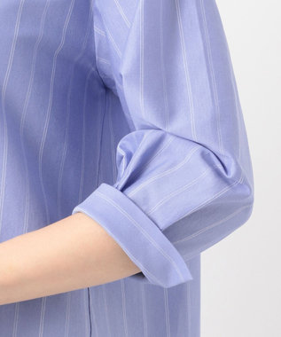 J.PRESS LADIES L 【洗える】ミラノ天竺ストライプ スタンドカラー カットソー サックスブルー系1