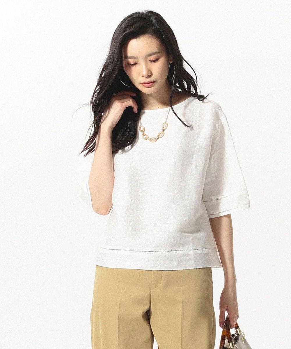 J.PRESS LADIES L 【洗える】SAFILIN LINEN カットソー ホワイト系