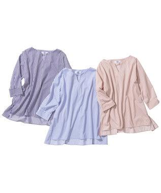 J.PRESS LADIES 【WEB限定】ストライプチュニック カットソー ピンク系1