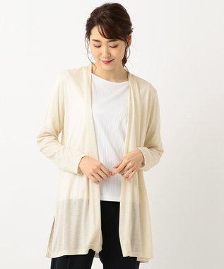 J.PRESS LADIES 【毛玉ができにくい】オメガフライスロング丈 カーディガン ベージュ系