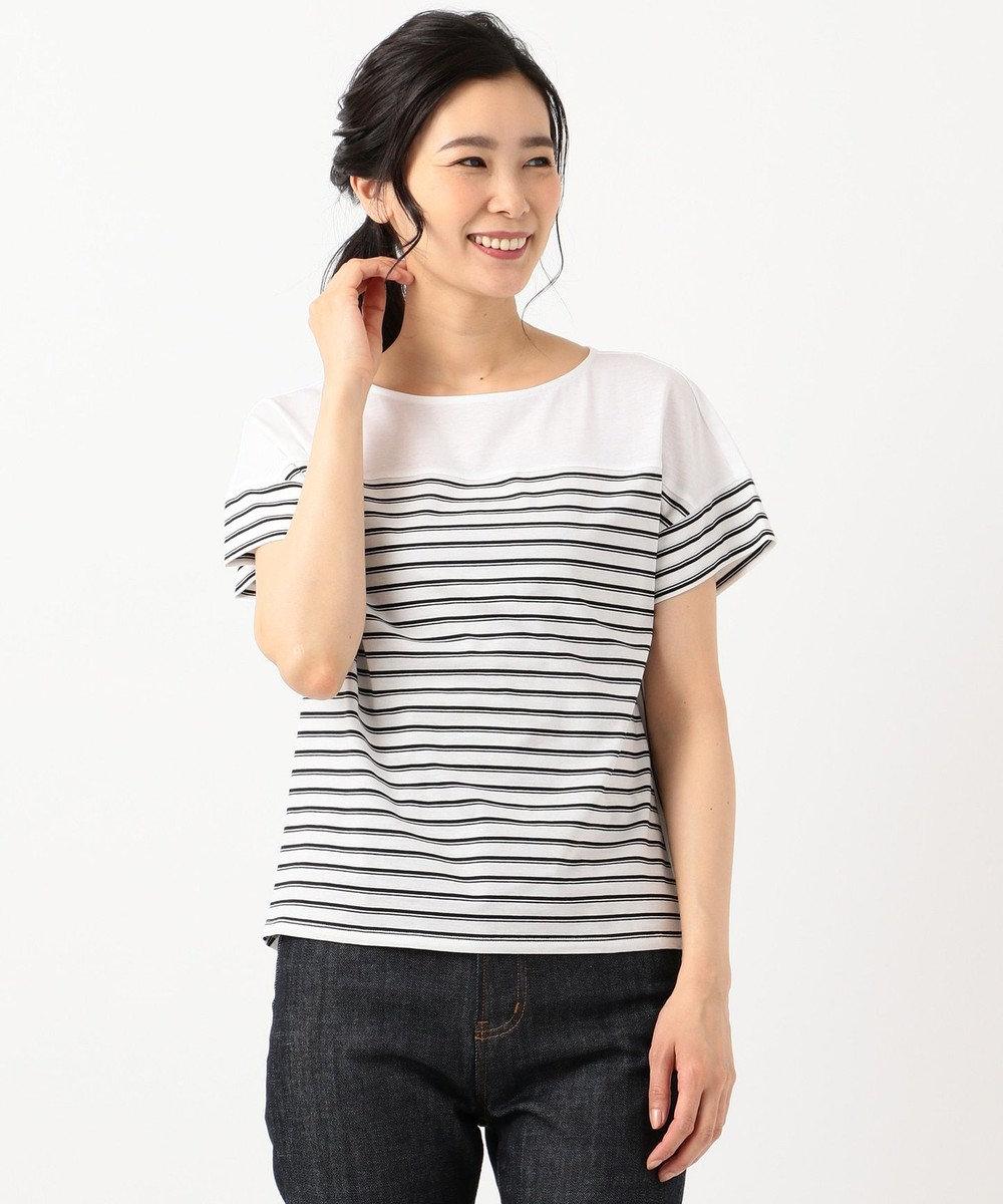 J.PRESS LADIES S 【接触冷感】デラヴェボーダー Tシャツ ホワイト系1