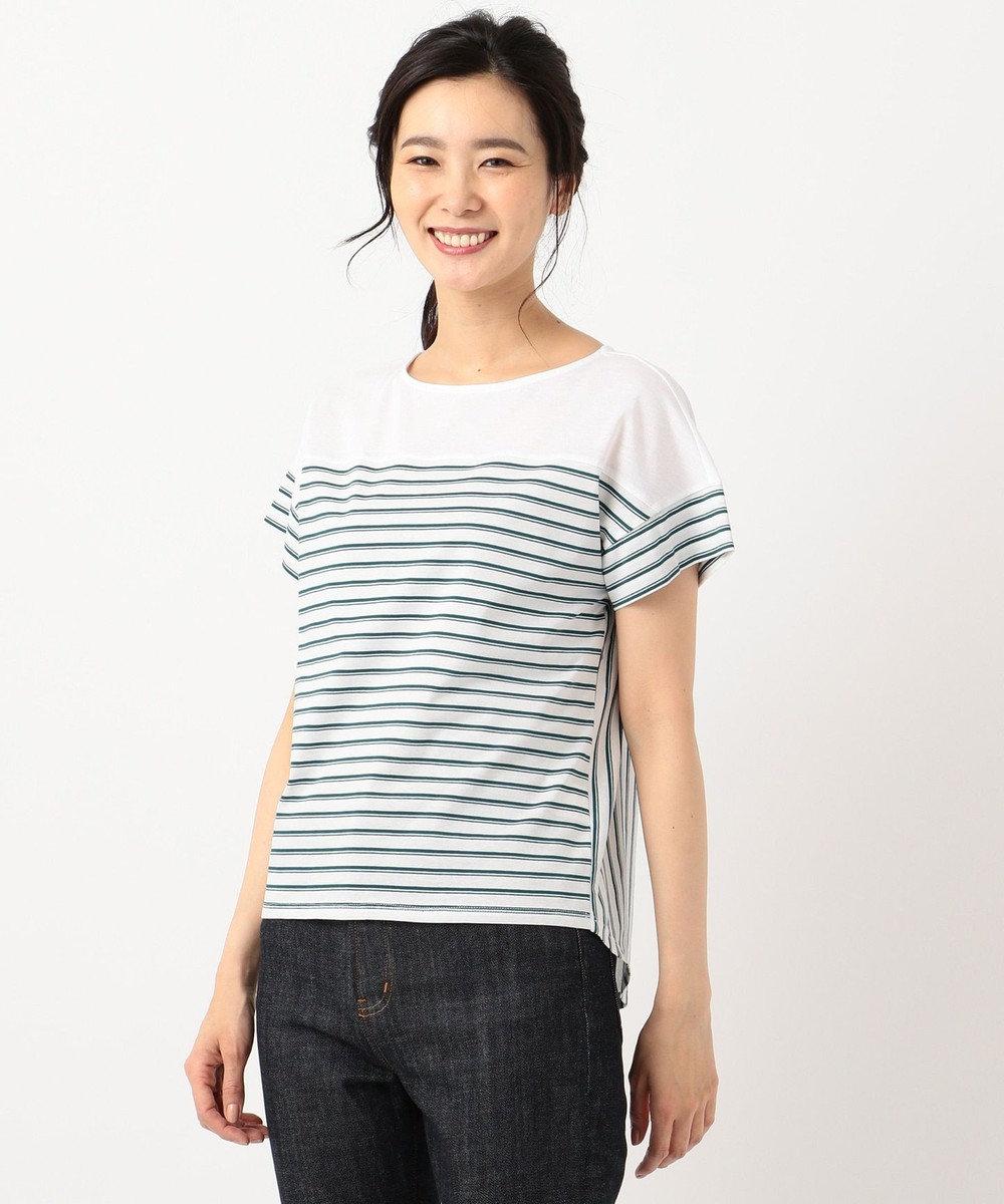 J.PRESS LADIES S 【接触冷感】デラヴェボーダー Tシャツ ピーコックグリーン系1
