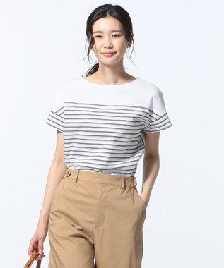 J.PRESS LADIES S 【接触冷感】デラヴェボーダー Tシャツ カーキ系1