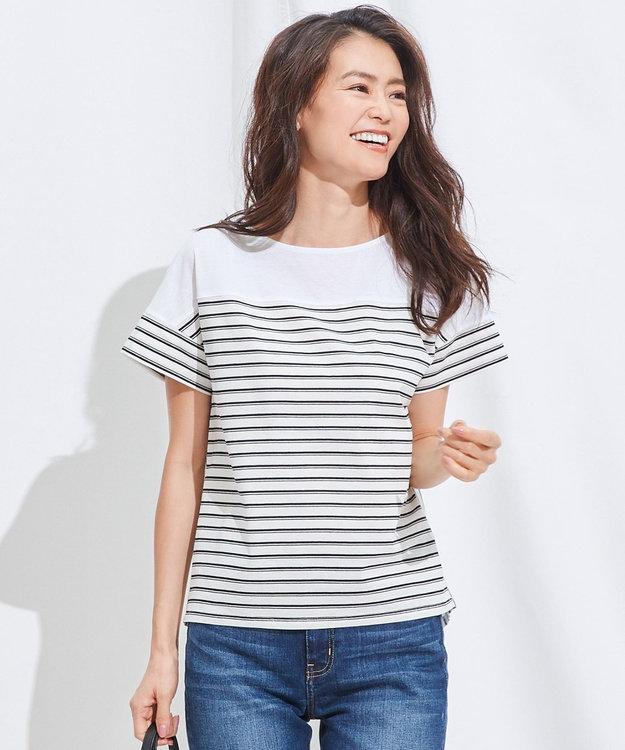 J.PRESS LADIES S 【接触冷感】デラヴェボーダー Tシャツ