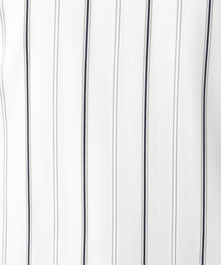 J.PRESS LADIES L シアーチェック&ストライプ  フレンチスリーブ カットソー ホワイト系1