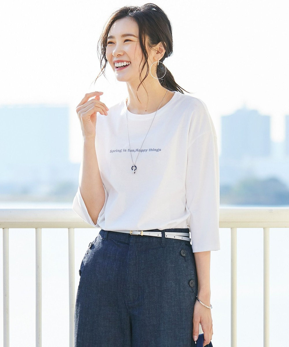 J.PRESS LADIES L 【日本製】MINI LOGO TEE Tシャツ ホワイト系