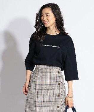 J.PRESS LADIES L 【日本製】MINI LOGO TEE Tシャツ ネイビー系