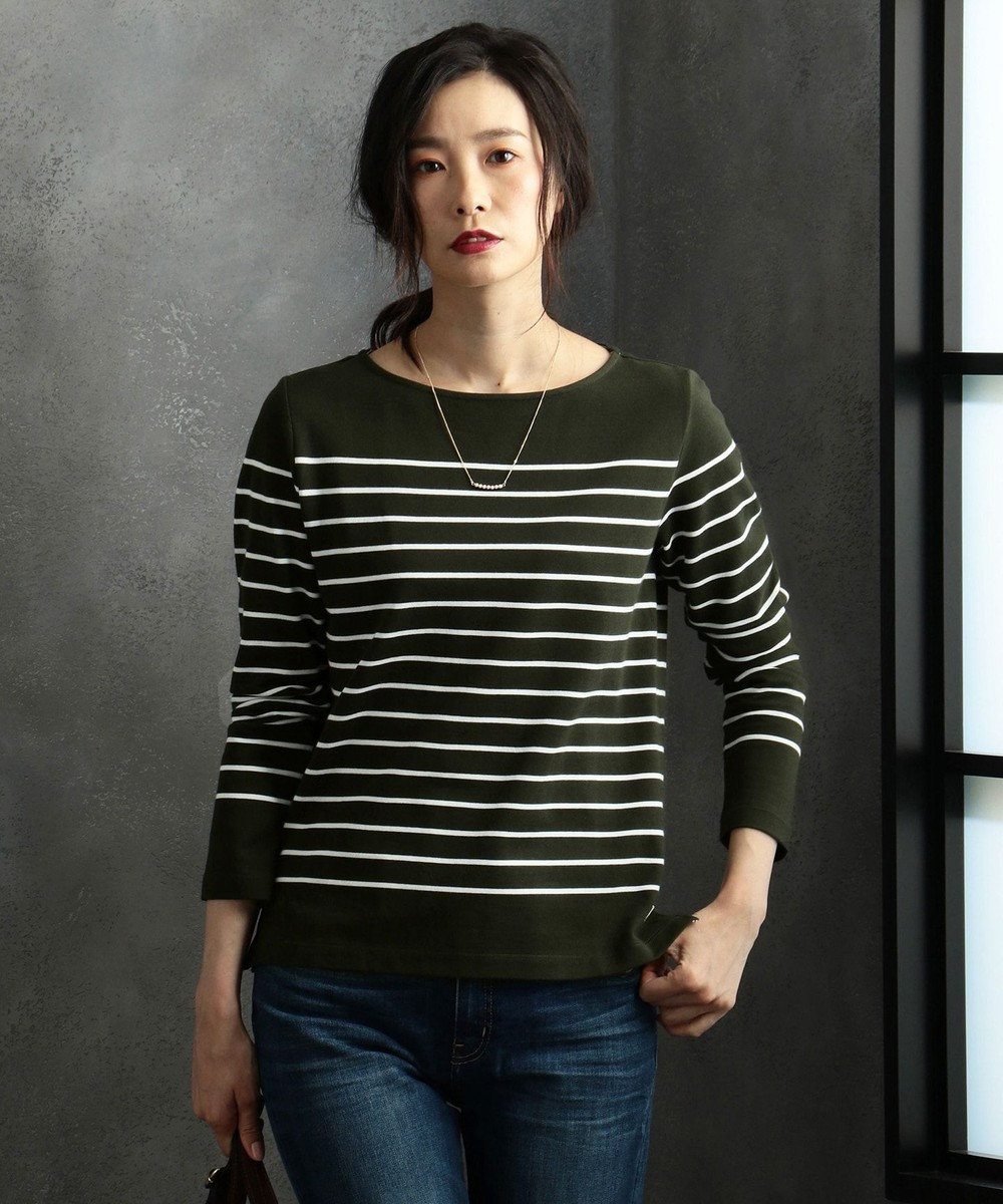J.PRESS LADIES S 【定番人気】バスクボーダー Tシャツ ピーコックグリーン系1