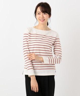 J.PRESS LADIES S 【定番人気】バスクボーダー Tシャツ オレンジ系1