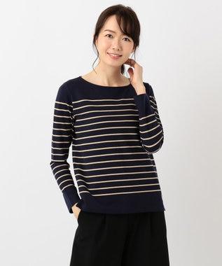 J.PRESS LADIES S 【定番人気】バスクボーダー Tシャツ ダルブルー系1