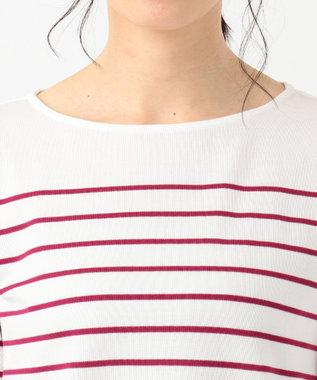 J.PRESS LADIES S 【定番人気】バスクボーダー Tシャツ オールドローズ系1