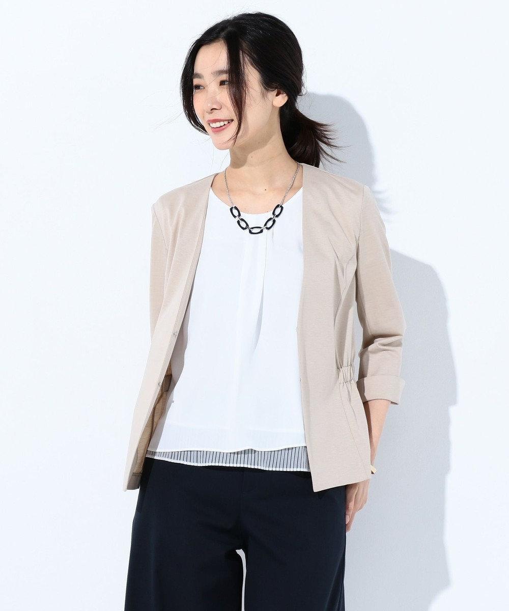 J.PRESS LADIES L 【型崩れしにくい】ツイルジャージー ジャケット ベージュ系