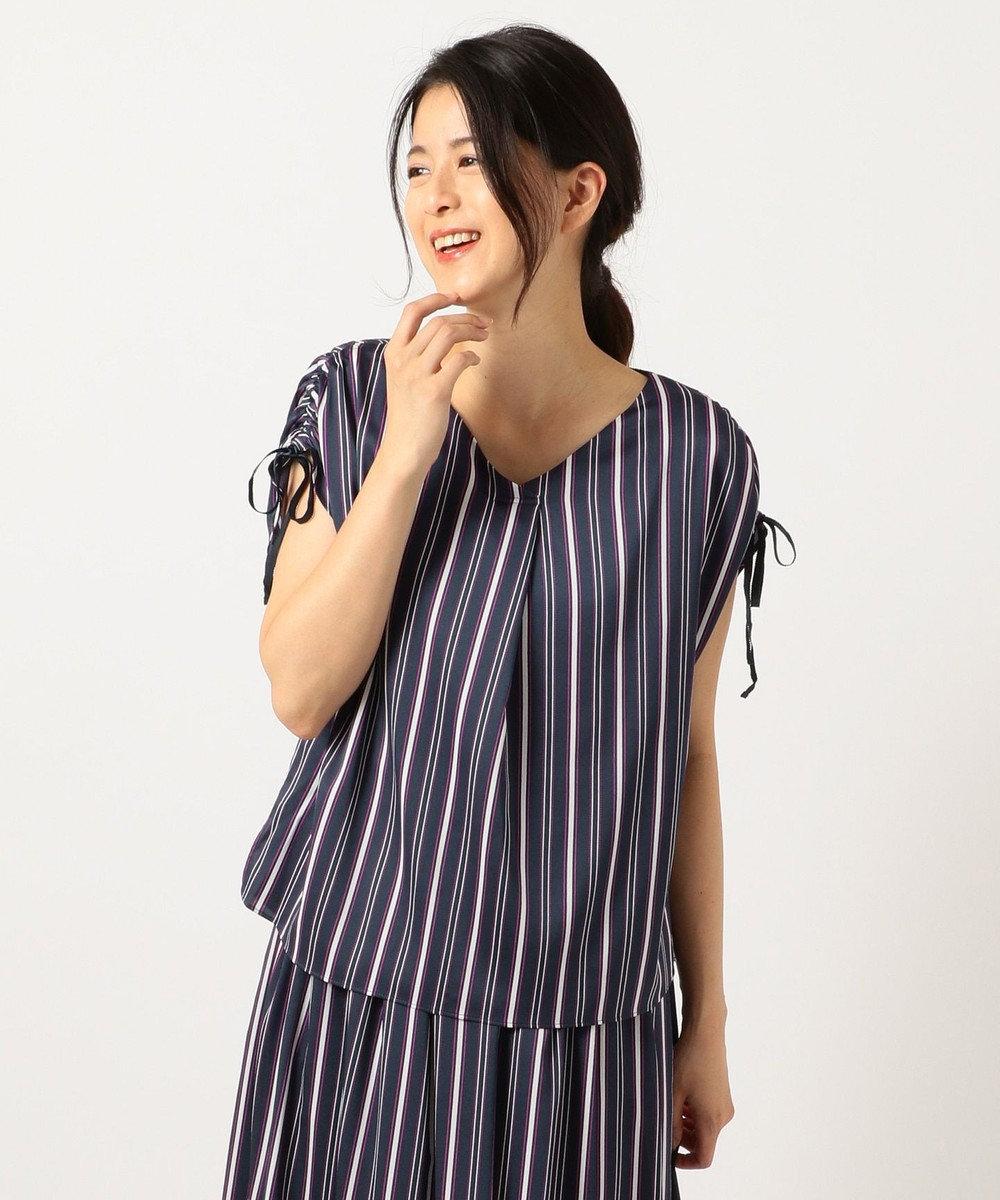 J.PRESS LADIES 【洗える】ストライププリント袖ギャザー カットソー ネイビー系1