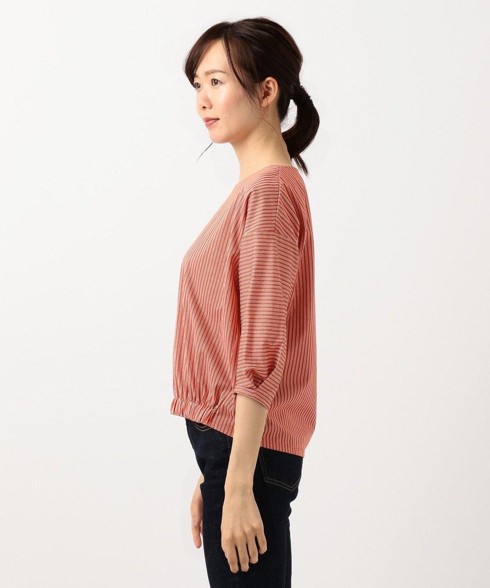 J.PRESS LADIES 【洗える】シェルストライプ Vネック カットソー オレンジ系1