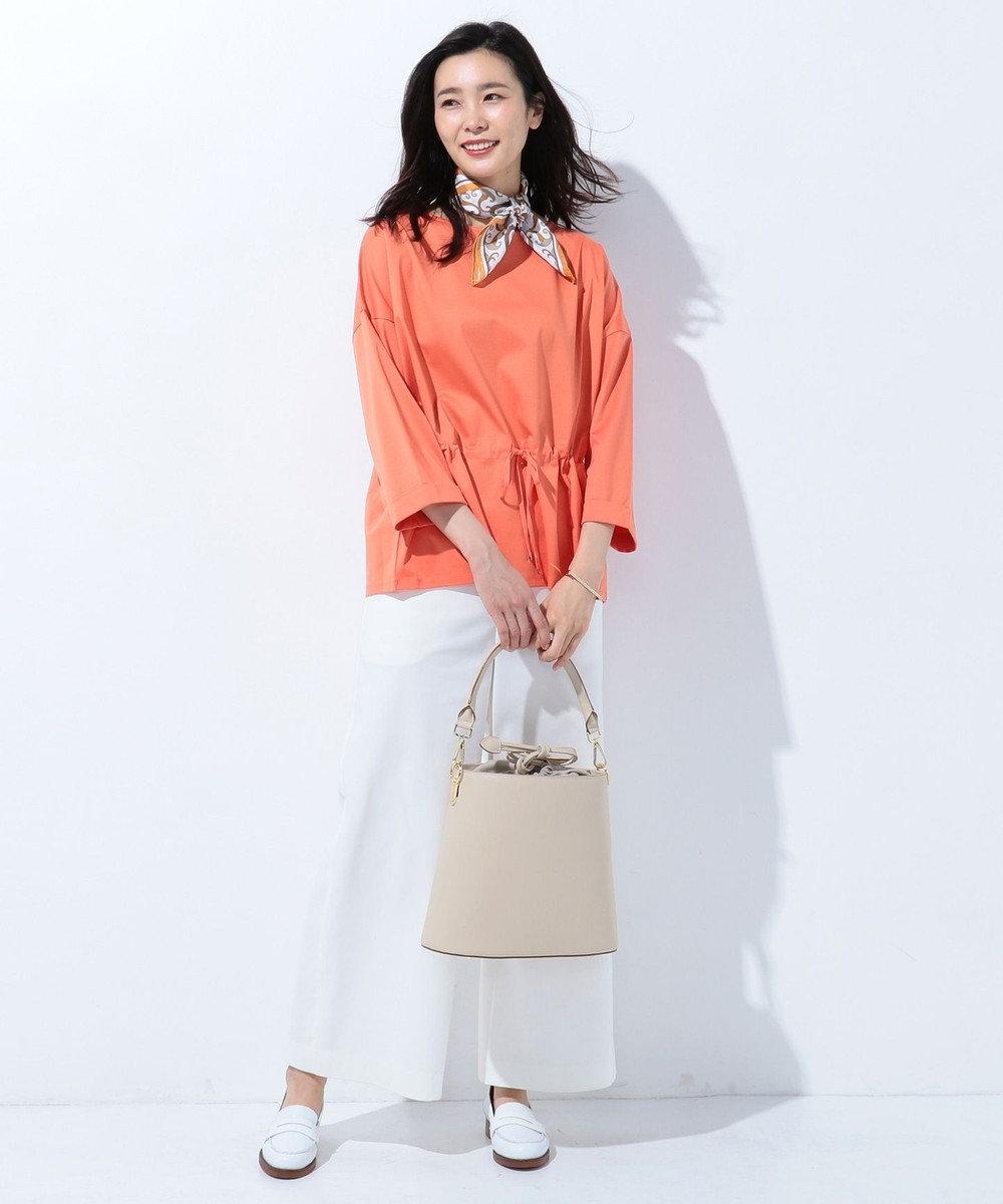 J.PRESS LADIES 【洗える】コーコランスムース ウエストギャザーカットソー オレンジ系