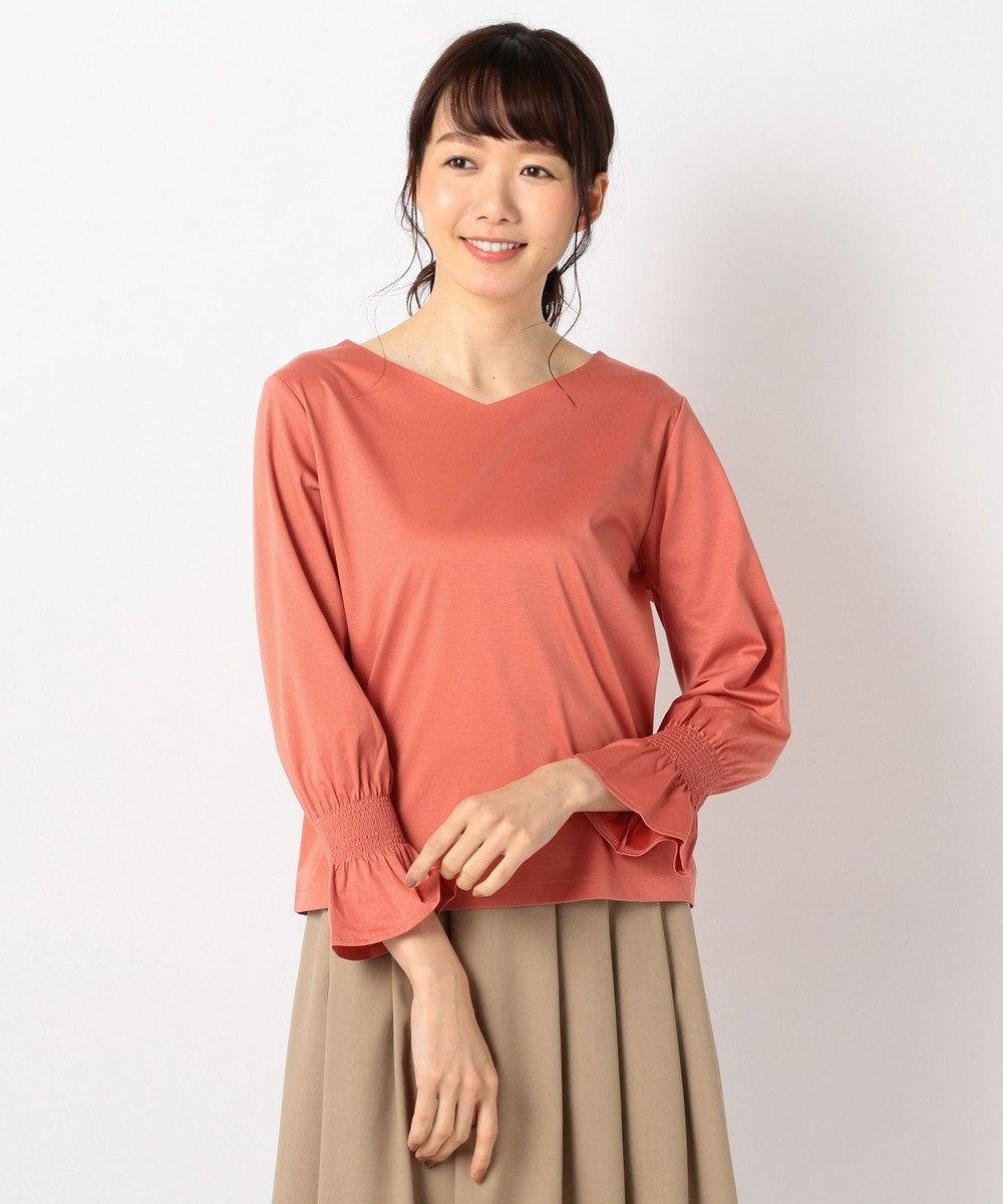 J.PRESS LADIES L 【洗える】コットンスムースサファイアキャンディスリーブ カットソー オレンジ系
