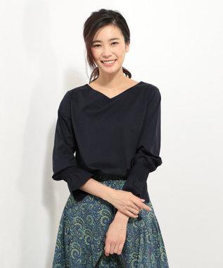 J.PRESS LADIES L 【洗える】コットンスムースサファイアキャンディスリーブ カットソー ネイビー系