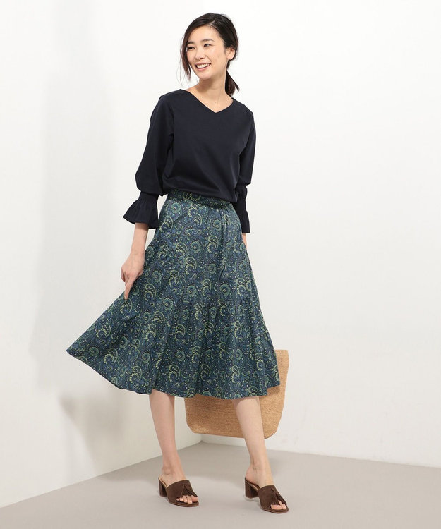 J.PRESS LADIES L 【洗える】コットンスムースサファイアキャンディスリーブ カットソー