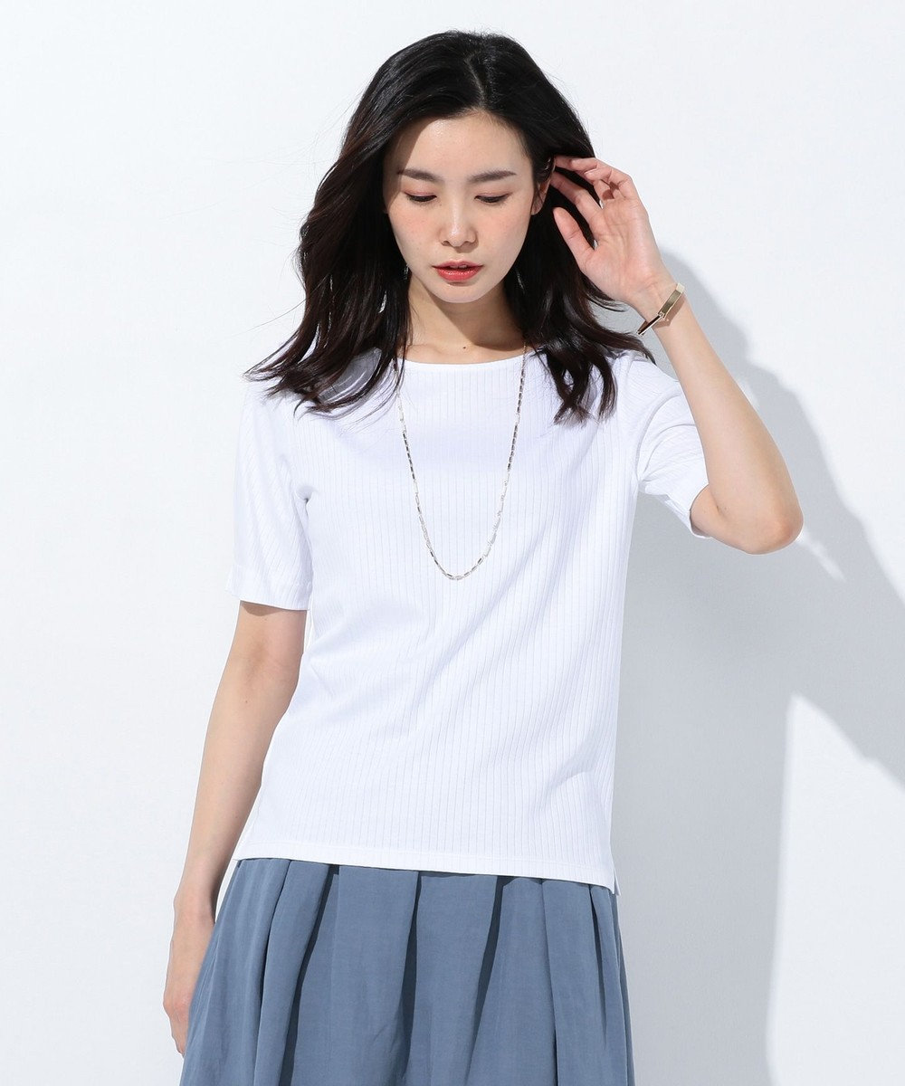 J.PRESS LADIES S 【洗える】針抜きコットンスムース カットソー ホワイト系