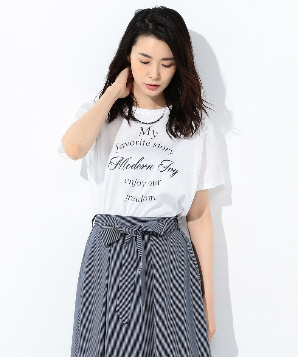 J.PRESS LADIES 【UVケアできる】PRINT Tシャツ ホワイト系