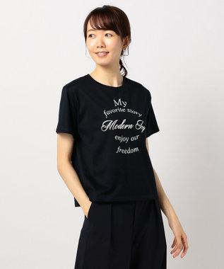 J.PRESS LADIES 【UVケアできる】PRINT Tシャツ ネイビー系