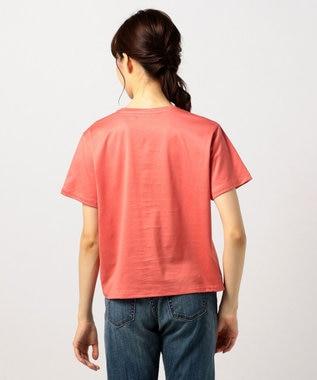 J.PRESS LADIES 【UVケアできる】PRINT Tシャツ オレンジ系