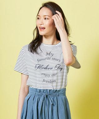 J.PRESS LADIES 【UVケアできる】PRINT Tシャツ ネイビー系1