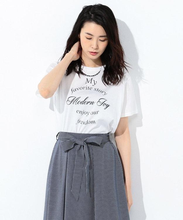 J.PRESS LADIES 【UVケアできる】PRINT Tシャツ