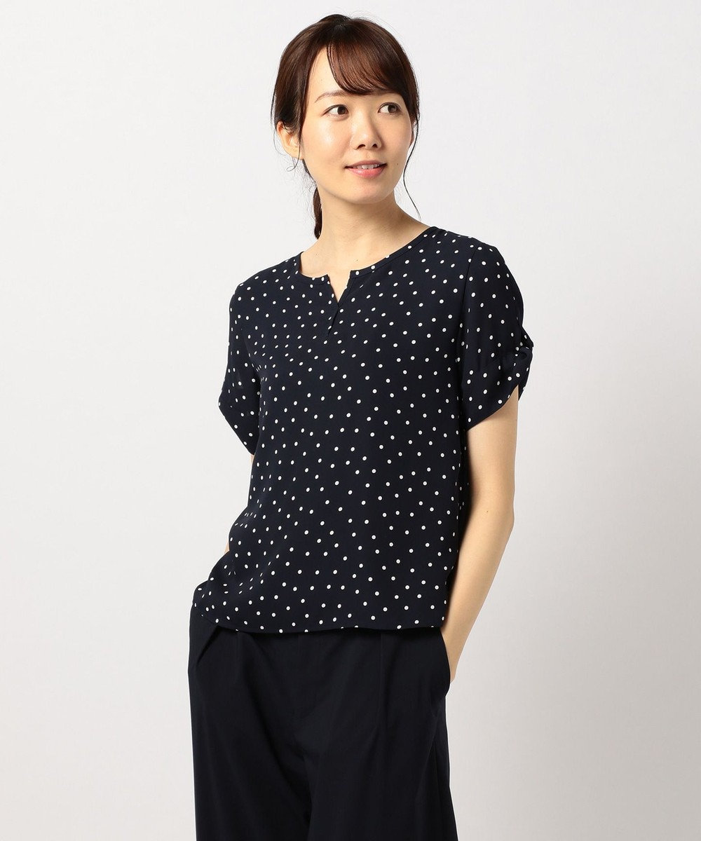 J.PRESS LADIES 【WEB限定色あり】ランダムドットプリントスキッパー カットソー ネイビー系5