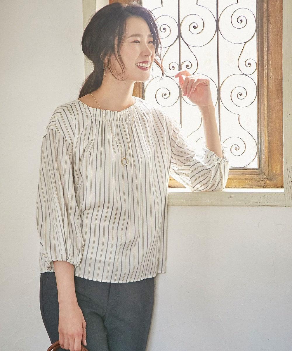 J.PRESS LADIES S 【洗える】プロビスストライプ 袖ボリューム カットソー ホワイト系1