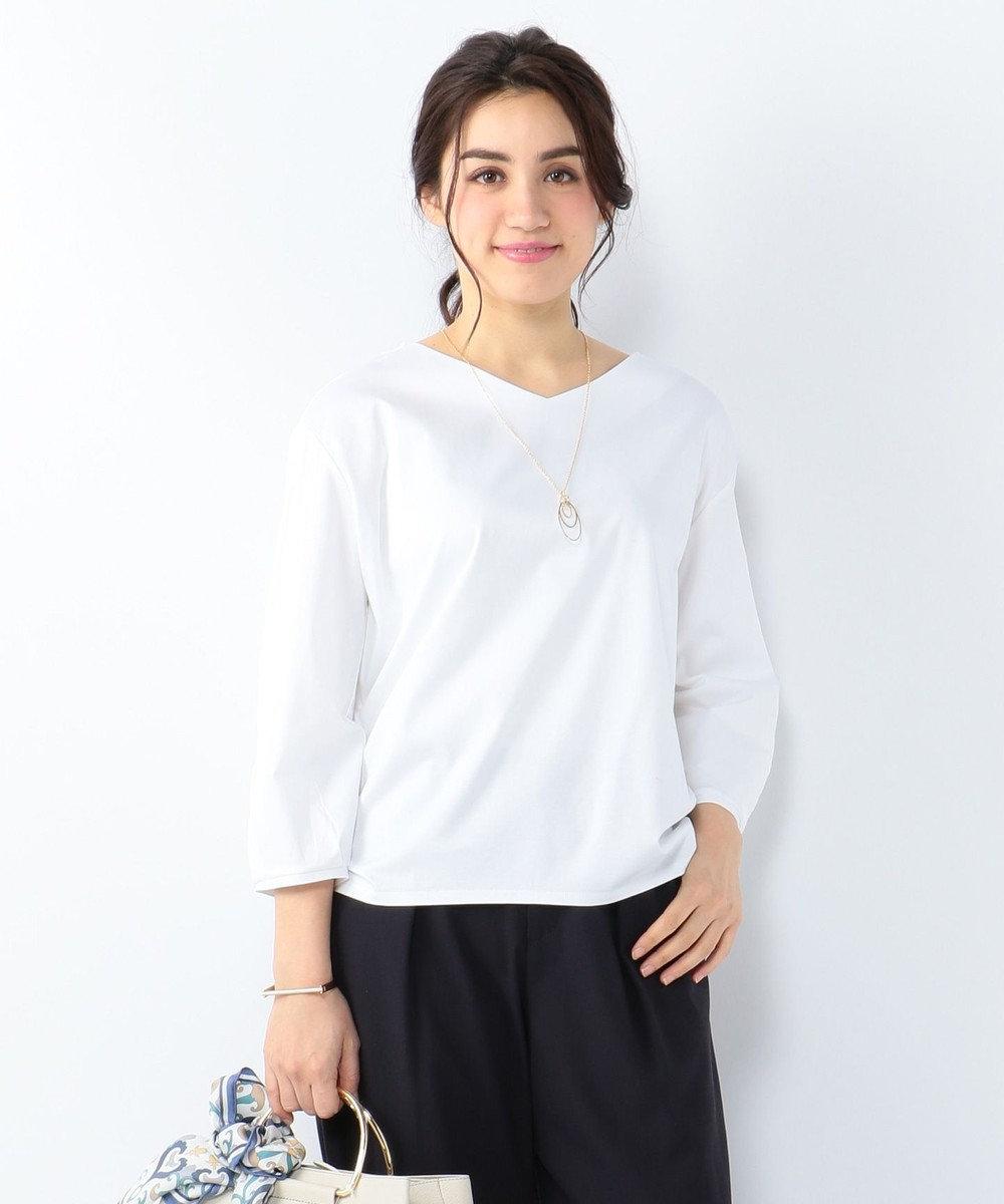 J.PRESS LADIES L 【洗える】コーコランスムース 裾ギャザーカットソー ホワイト系