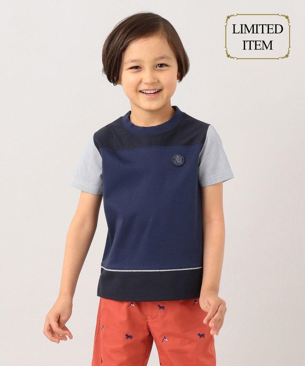 J.PRESS KIDS 【一部店舗限定/110-130cm】異素材ブロッキング Tシャツ ネイビー系