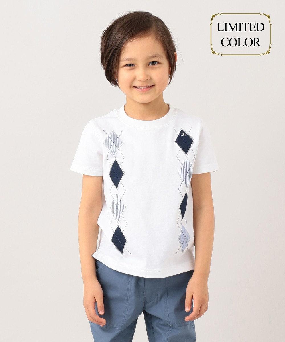 J.PRESS KIDS 【一部店舗限定カラー有り/110-130cm】アーガイルパッチワーク Tシャツ ホワイト系
