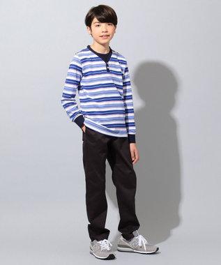 J.PRESS KIDS 【140-170cm】クレープ地 フェイクレイヤード Tシャツ ブルー系2