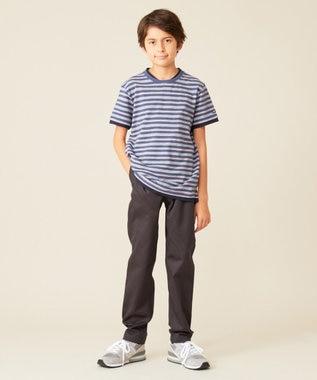 J.PRESS KIDS 【140-170cm】60/2カノコ レールボーダー Tシャツ ネイビー系1