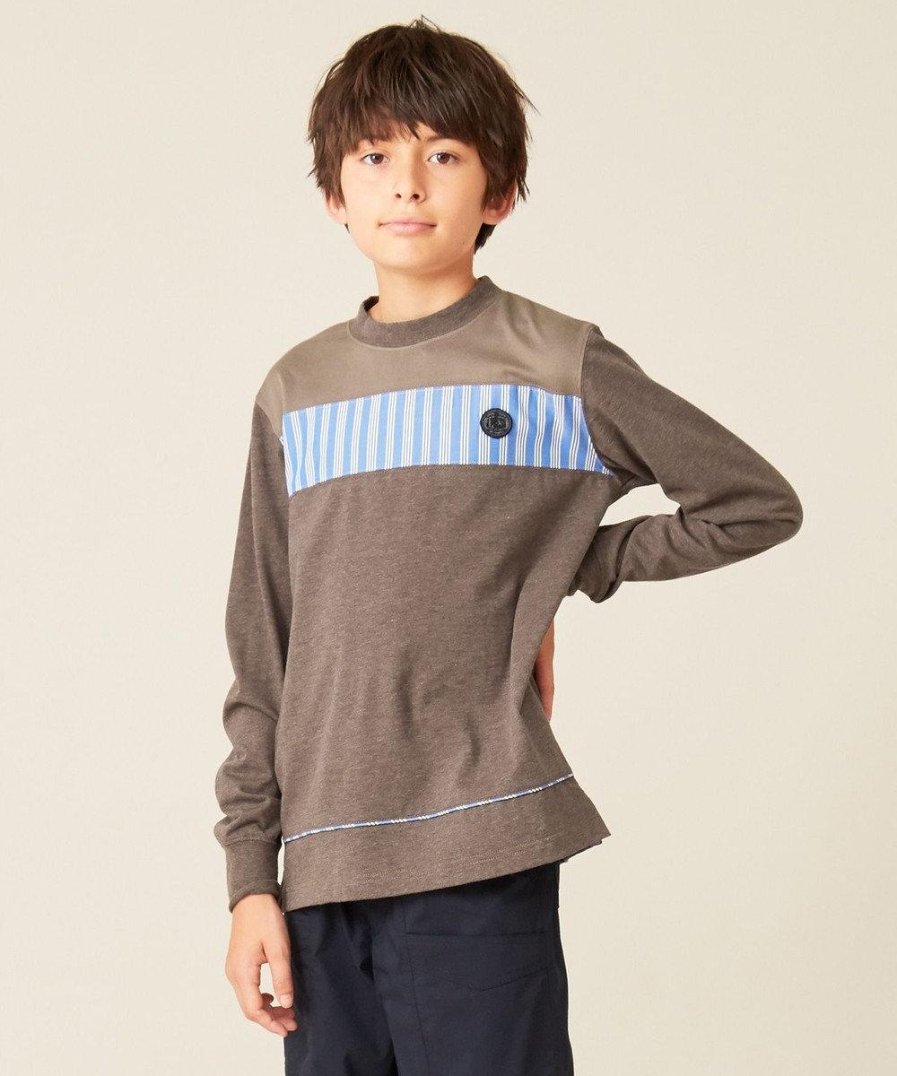 J.PRESS KIDS 【140-170cm】40/2天竺&バスケット カットソー ダークブラウン系