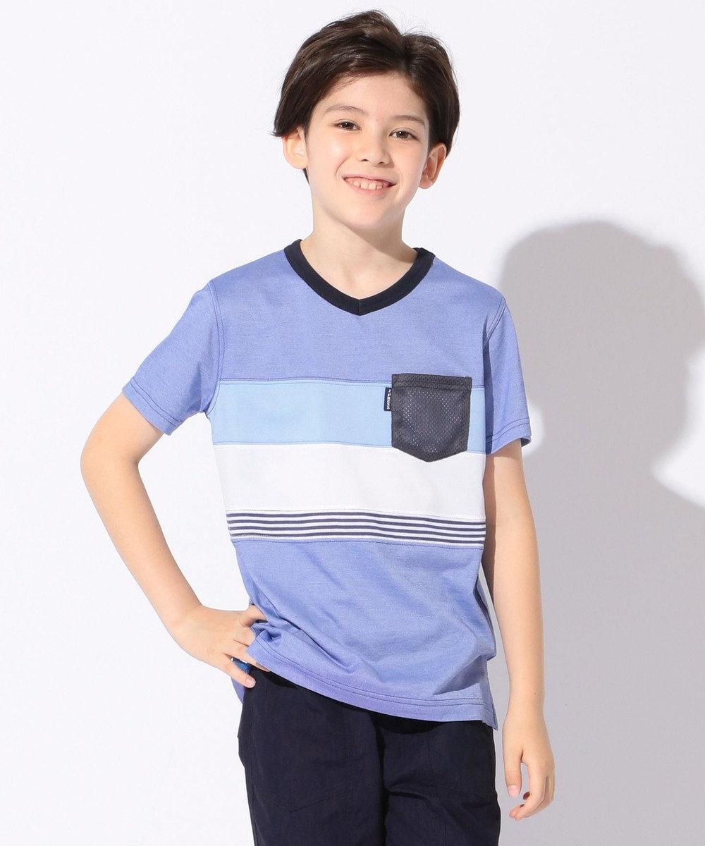 J.PRESS KIDS 【SCHOOL】クールマックス ブロッキング Tシャツ ブルー系