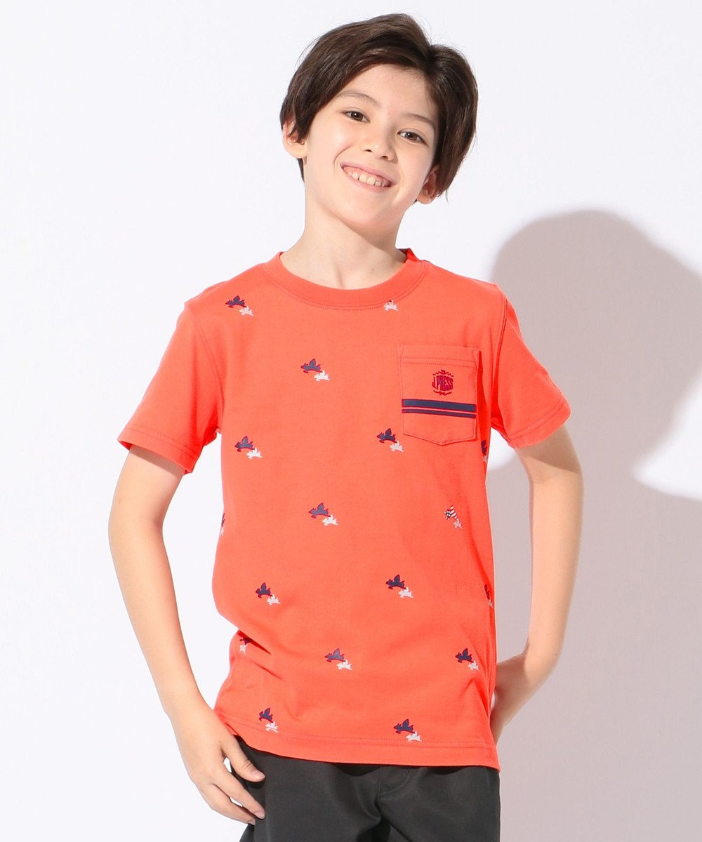 J.PRESS KIDS 【SCHOOL】フライングピッグプリント40/2天竺 Tシャツ オレンジ系