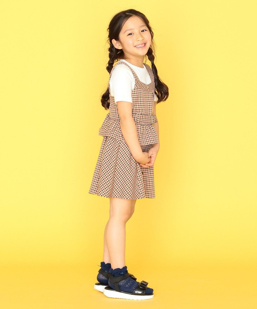 組曲 KIDS 【110-140cm】ウーリッシュチェック ビスチェ ベージュ系3