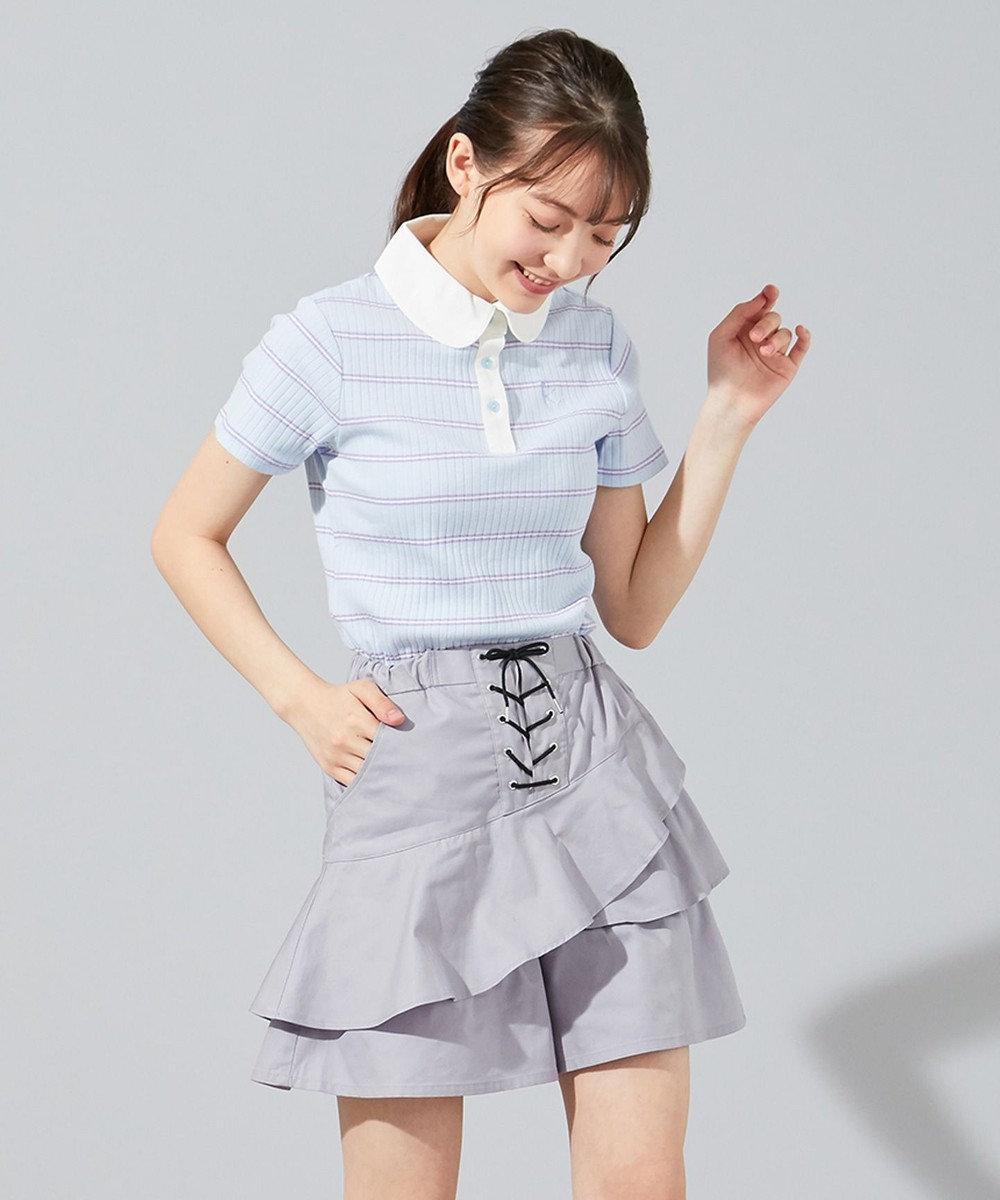 組曲 KIDS 【150-170cm】パステルボーダー ラガーシャツ サックスブルー系2