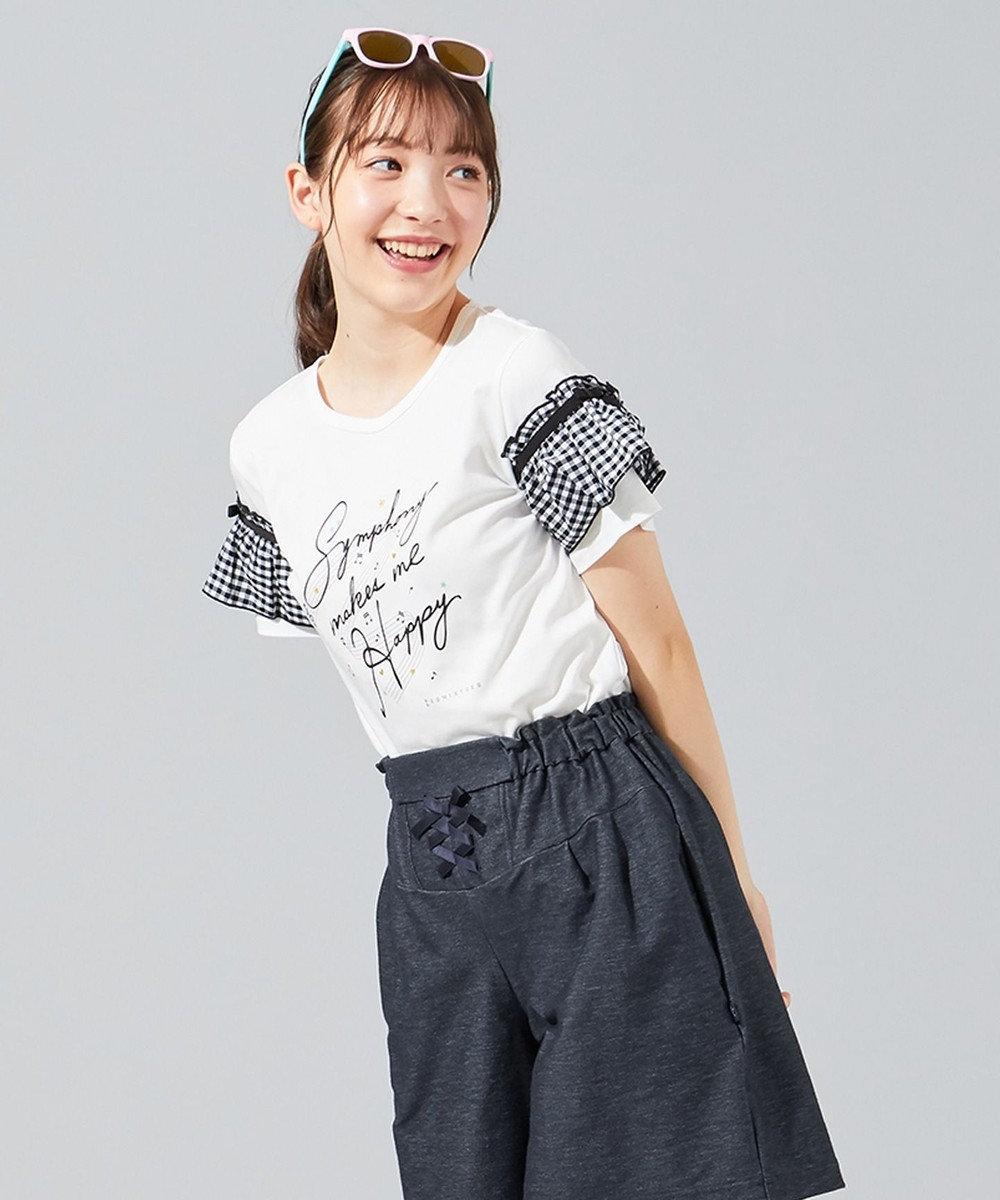 組曲 KIDS 【150-170cm】ギンガムフリルスリーブ カットソー アイボリー系