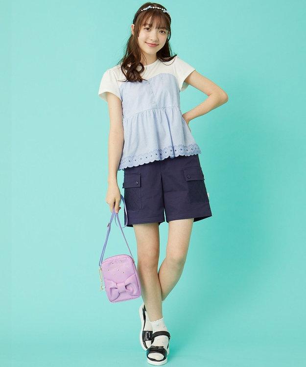 組曲 KIDS 【150-170cm】アイシーパステルストライプビスチェ カットソー