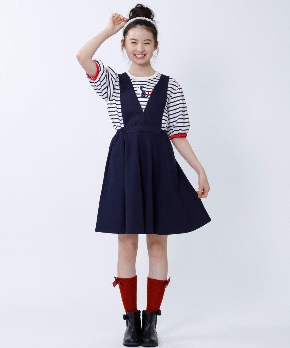 組曲 KIDS 【SCHOOL】フリルタックボーダー カットソー ネイビー系2