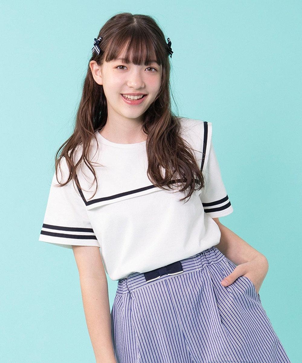 組曲 KIDS 【150~160cm】セーラー カットソー アイボリー系