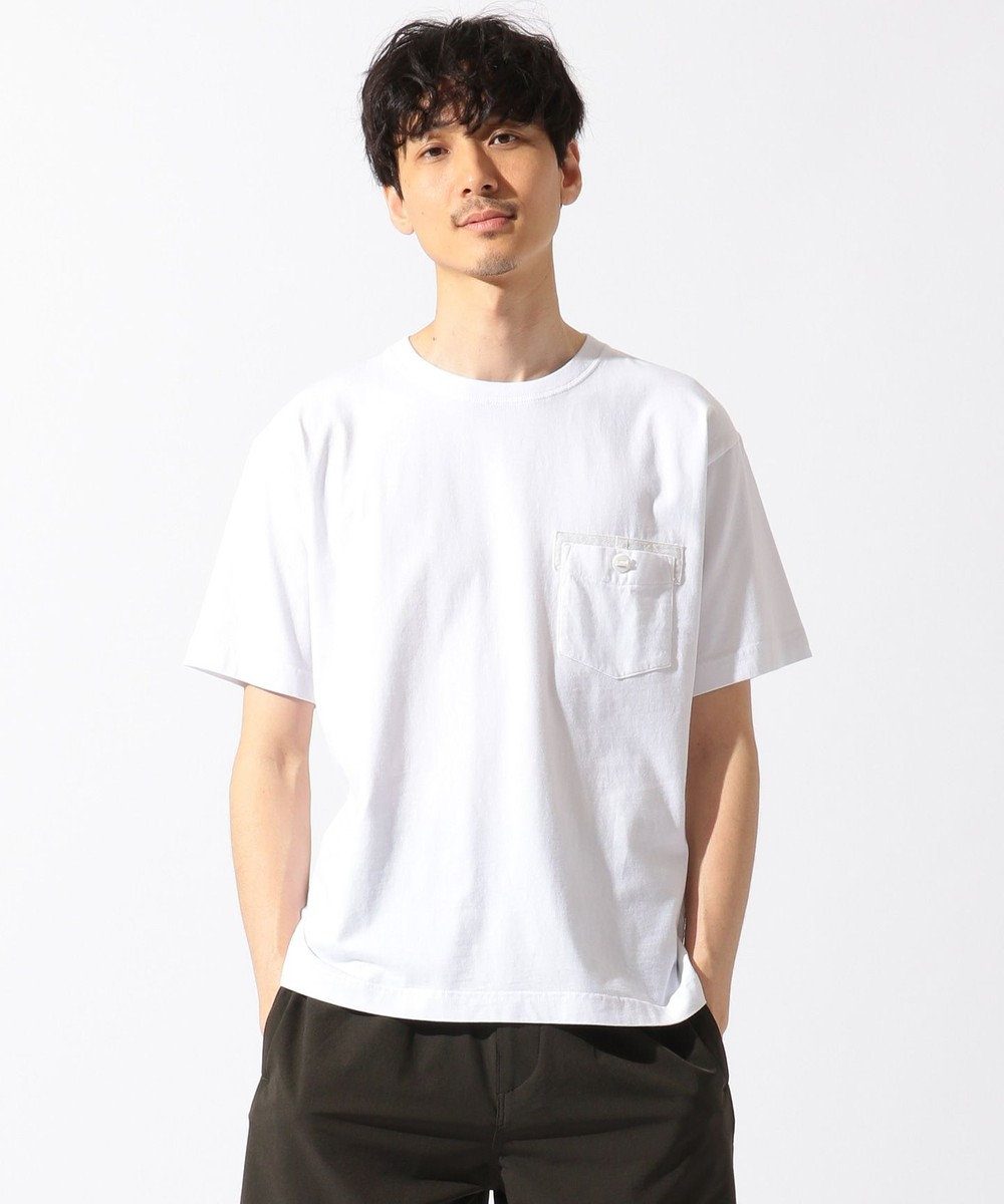 SHARE PARK MENS パラシュートボタンポケット半袖 Tシャツ ホワイト系